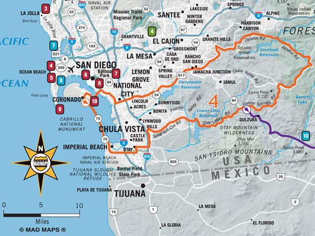 GOTSAN1 - Scenic Road Trips Map - San Diego - MAD Maps