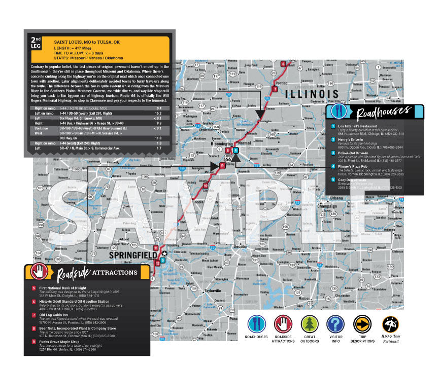 Route 66 - Rides of a Lifetime Road Trip Map - ROL66