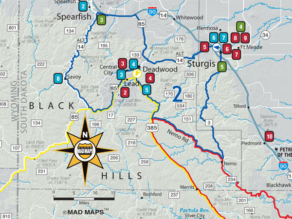 RRST01 </br>Rally Run Road Trip Map </br>Sturgis - MAD Maps