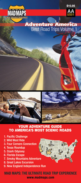 ROLAA - Rides of a Lifetime Road Trip Map - Adventure America - MAD Maps