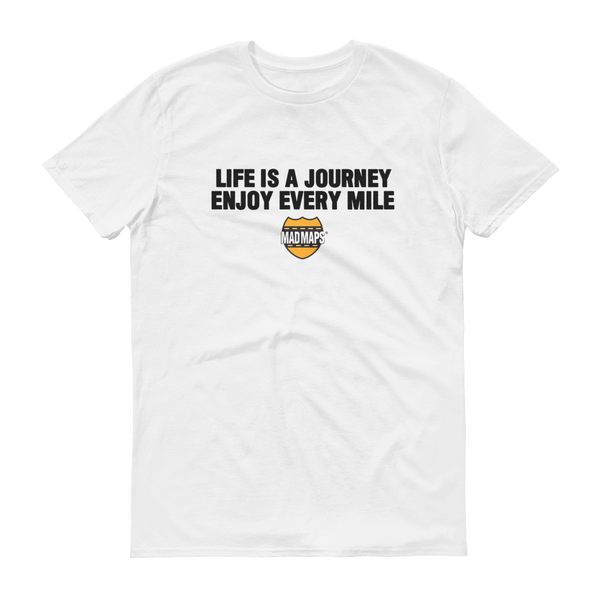 MAD Maps - Life Is A Journey - Mens T Shirt - White/Black - MAD Maps