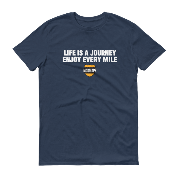 MAD Maps - Life Is A Journey - Mens T Shirt - Lake Blue/White - MAD Maps