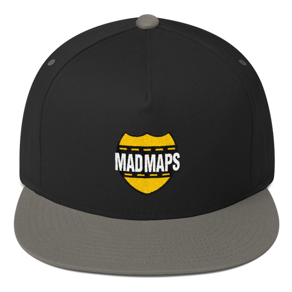 Mad Maps - Logo Snapback Five Panel Ball Cap - Black/Grey - MAD Maps