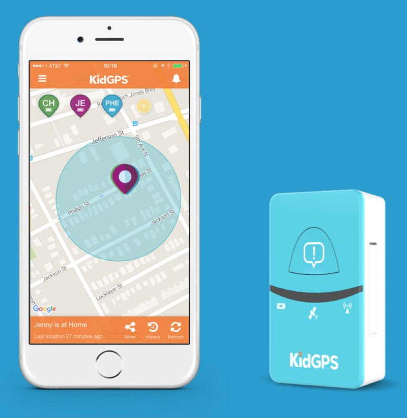 KidGPS tracking device and mobile app example.