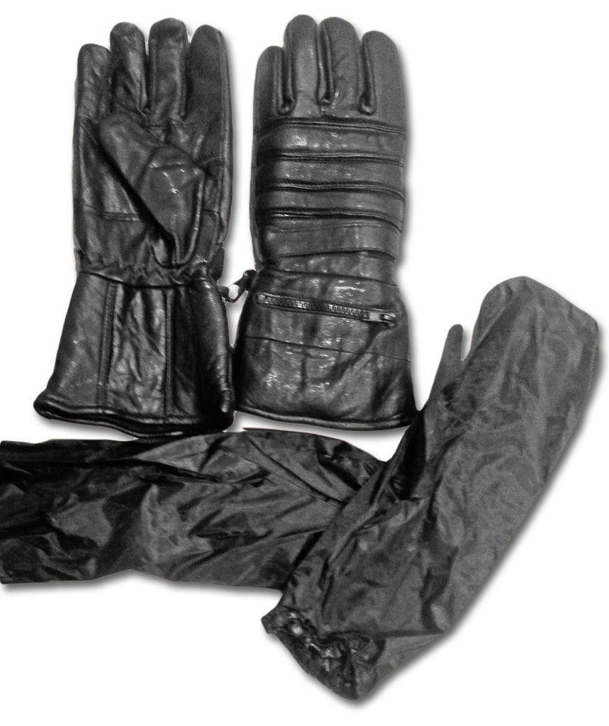 Leather gauntlet driving gloves - Motorcycle Black Leather Waterproof Windproof Cold Or Warm Weather Extra Long Riding Gauntlets Gloves With Rain
