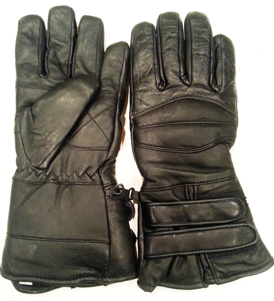 Leather gauntlet driving gloves - Black Leather Motorcycle Waterproof Insulated Unisex Cold Weather Year Round Insulated Gauntlets Riding Padded Gloves