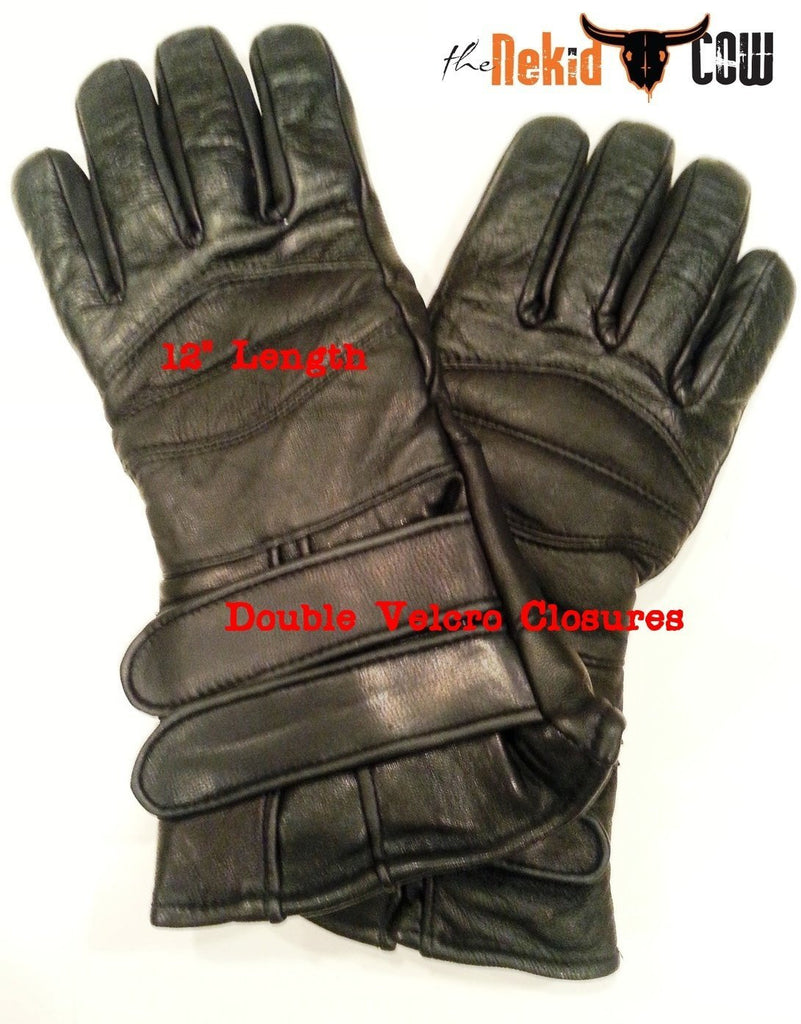 Insulated leather motorcycle gloves - Black Leather Motorcycle Waterproof Insulated Unisex Cold Weather Year Round Insulated Gauntlets Riding Padded Gloves