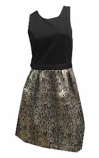 DONNA RICCO black a line dress with scale print skirt sz S