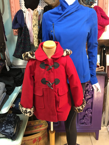 JESSICA SIMPSON red & leopard girl's trench pea coat sz 4T