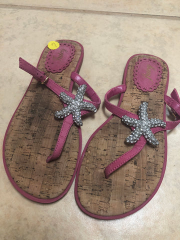 Juicy Cork Brown Pink Sandals sz 7