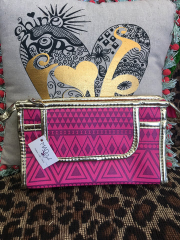 MAD STYLE clutch with pink aztec pattern and gold accents - NWT