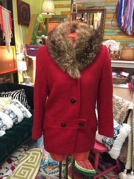 SAKS FIFTH AVE Vintage red herringbone wool pea coat fur collar Women's sz S