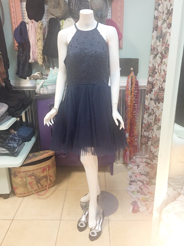 ANYA Navy beaded tutu party dress sz 14 -NWT