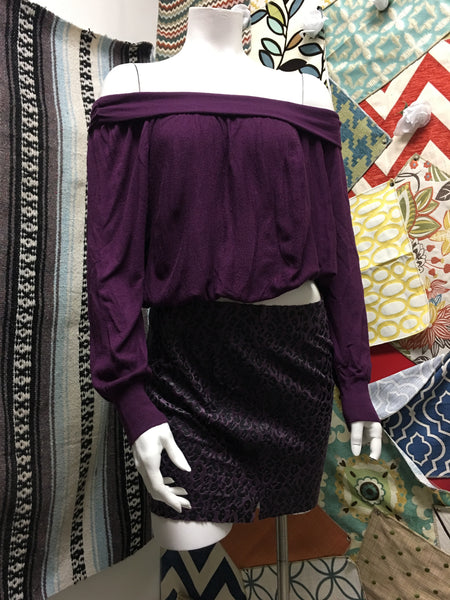 FREE PEOPLE purple sexy top sz XS & XT suede skirt sz 2