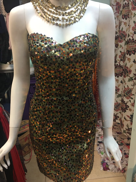 JAZZ COUTURE Green & gold sequin party mini dress - 2