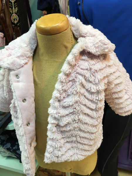 BABALUNO girl infant pink fur coat sz 3-6 mo