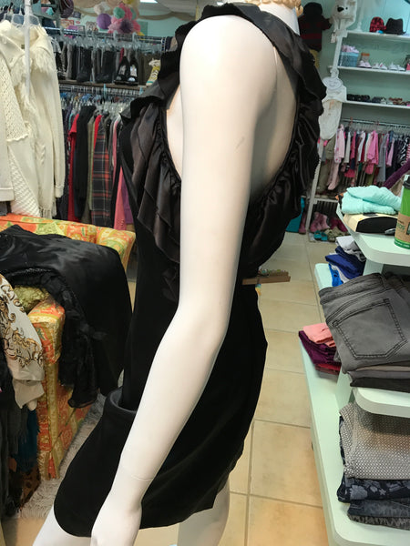 KARLIE Black sexy silky dress with ruffle detail sz M