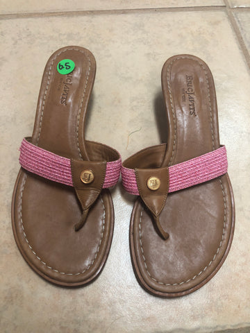 Eric Javits Brown Pink Sandals sz 6.5