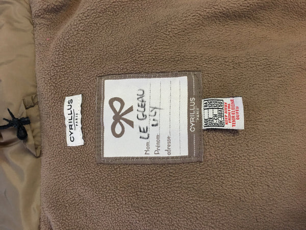 CYRILLUS Paris tan puffer coat zip up hood unisex sz 8