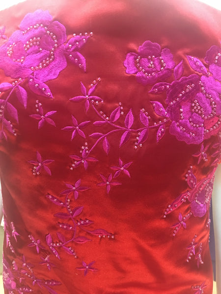 KAY UNGER Red silk embroidered beaded strapless dress sz 10