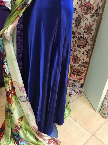 CASSANDRA STONE blue silky butterfly accented formal pageant dress - sz 6