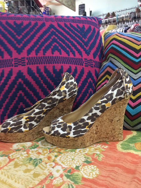 COLIN STEWART cheetah cork wedge sz 9 - so cool