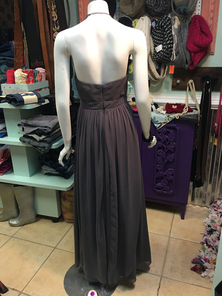 JENNY YOO Gray Beige long strapless flowing formal dress - sz 8