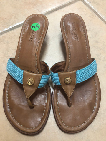 Eric Javits brown Blue Sandals sz 6.5