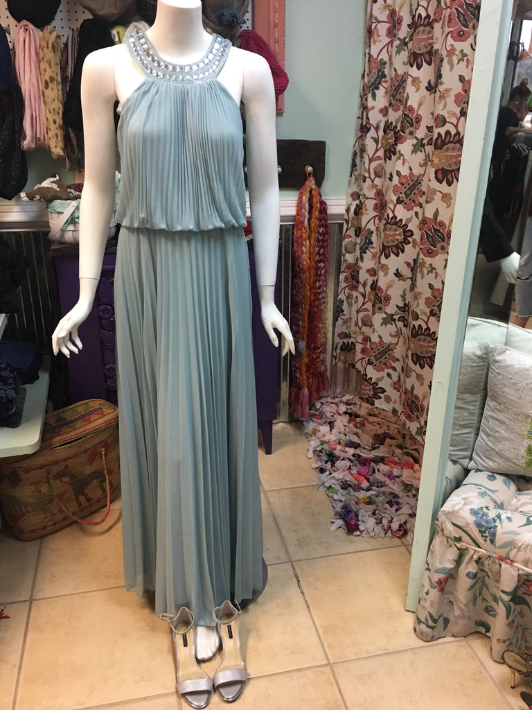 CACHET blue/green pleated gorgeous neckline long formal dress sz 4