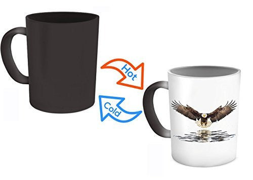Eagles Mug - Eagle Flying Mug - Color Changing Mug - Heat Changing Coffee Mug- 11 Oz Ceramic Mug
