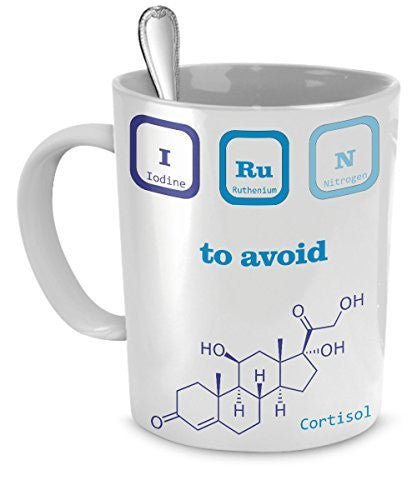 Funny Chemist Jokes - I (Iodine) Run (Ruthenium Nitrogen) To Avoid Stress - Chemist Gifts