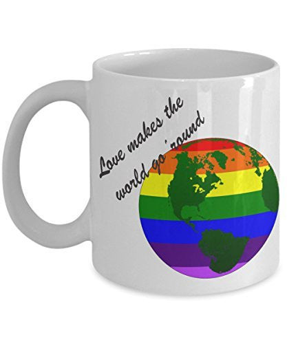 Rainbow Coffee Mug - Love Makes The World Go 'Round - Rainbow Ceramic Mug