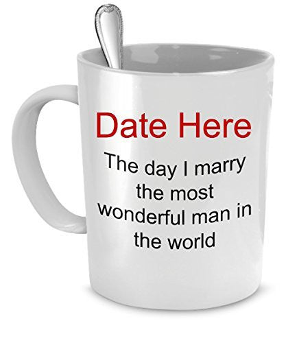 Engagement Gifts - Personalized Wedding Date Mug - Gifts For Fiance