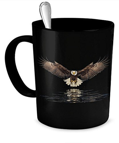 Eagle Coffee Mug - Eagle Flying Black Mug- Eagle Gifts- Eagle Travel Mug - 11 Oz Ceramic Mug