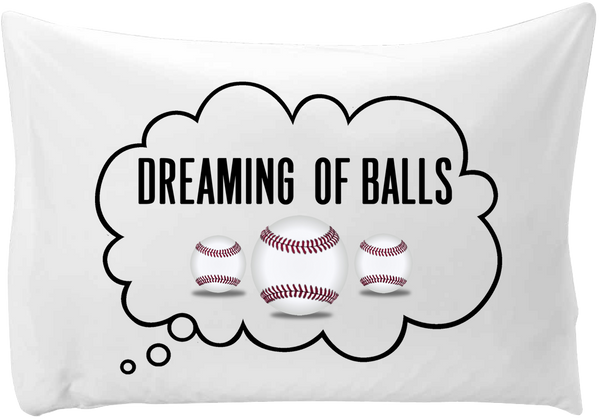 Dreaming of (base) balls - hand printed pillow case