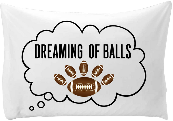 Dreaming of (foot)balls - hand printed pillow case