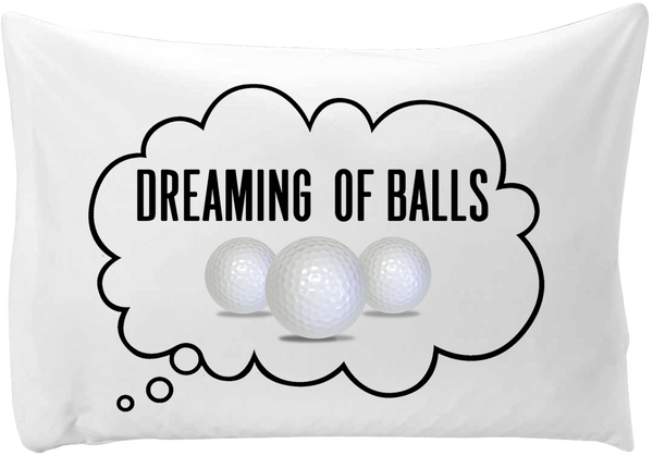 Dreaming of (golf) balls - hand printed pillow case
