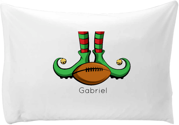 Elf with football pillow case - Personalize with your child's name!