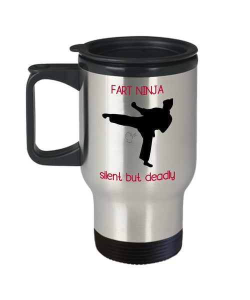Fart Ninja Silent But Deadly Travel Mug - Funny Tea Hot Cocoa Coffee Insulated Tumbler - Novelty Birthday Christmas Anniversary Gag Gifts Idea