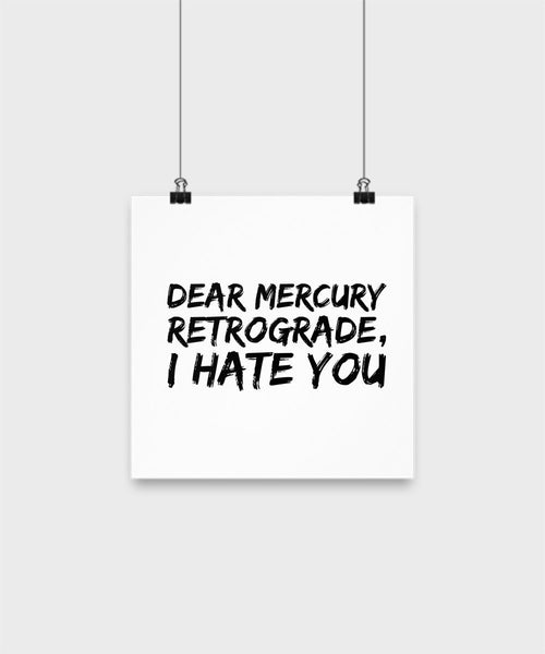 SpreadPassion Funny Poster - Dear Mercury Retrograde I Hate You - Unique Gifts Idea (12x12)