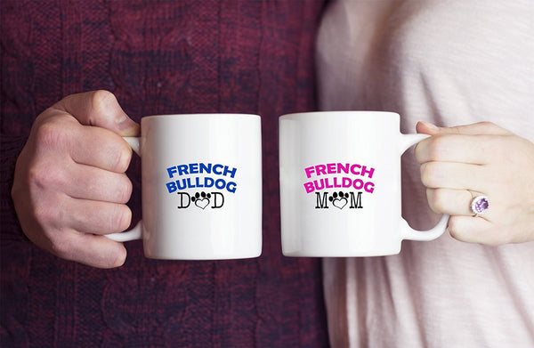 Funny French Bulldog Couple Mug – French Bulldog Dad – French Bulldog Mom – French Bulldog Lover Gifts - Unique Ceramic Gifts Idea (Dad & Mom)
