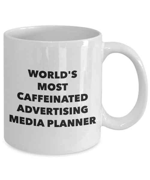 World's Most Caffeinated Advertising Media Planner Mug - Funny Tea Hot Cocoa Coffee Cup - Novelty Birthday Christmas Anniversary Gag Gifts Idea