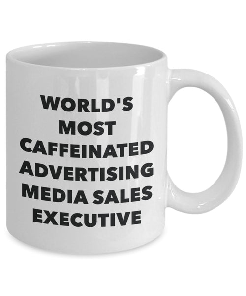 World's Most Caffeinated Advertising Media Sales Executive Mug - Funny Tea Hot Cocoa Coffee Cup - Novelty Birthday Christmas Anniversary Gag Gifts Ide