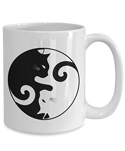 Ying Yang Cat Mug - Funny Tea Hot Cocoa Coffee Cup - Novelty Birthday Christmas Gag Gifts Idea