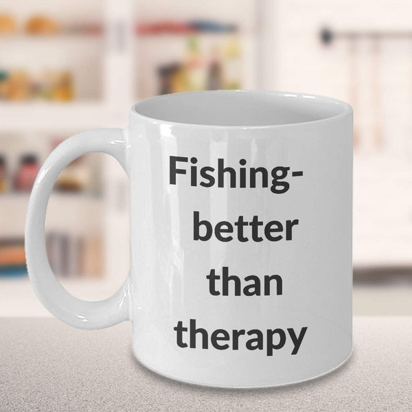 Fishing coffee mug - fishing therapy coffee mug - bass fishing mug - fly fishing mug - deep sea fishing mug