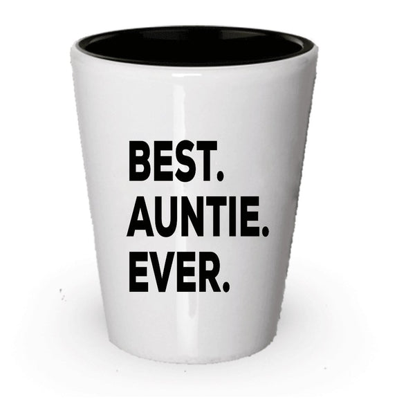 Best Auntie Ever Shot Glass - 1 You're Going To Be An Auntie - Funny Gag Gift - For A Novelty Present Idea - Add To Gift Bag Basket Box Set - Birthday Christmas Present (2)
