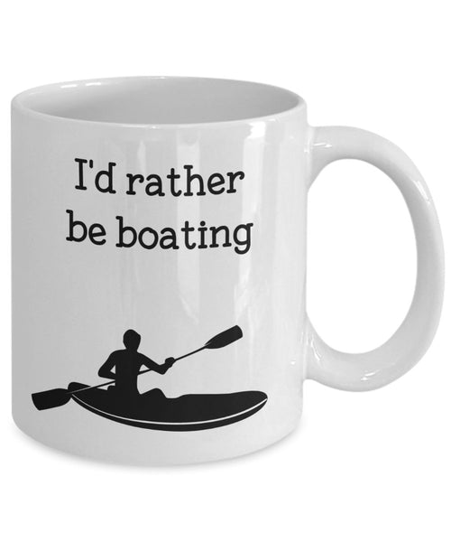 I'd Rather Be Boating Mug - Funny Tea Hot Cocoa Coffee Cup - Novelty Birthday Christmas Anniversary Gag Gifts Idea
