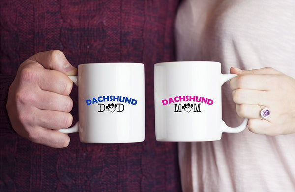 Funny Dachshund Couple Mug – Dachshund Dad – Dachshund Mom – Dachshund Lover Gifts - Unique Ceramic Gifts Idea (Dad & Mom)