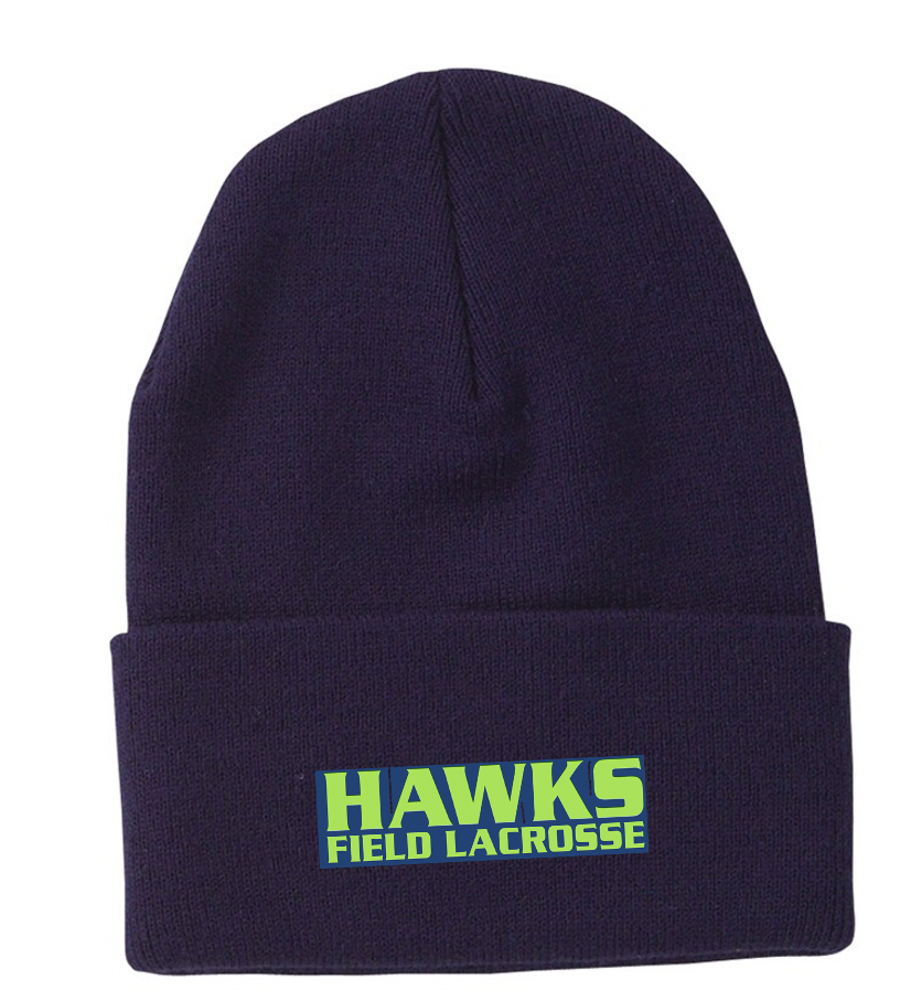 Navy Blue Knit Toque - Embroidery
