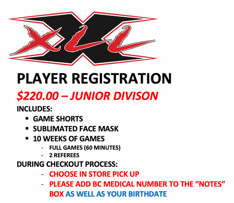 XLL JUNIOR REGISTRATION PACKAGE
